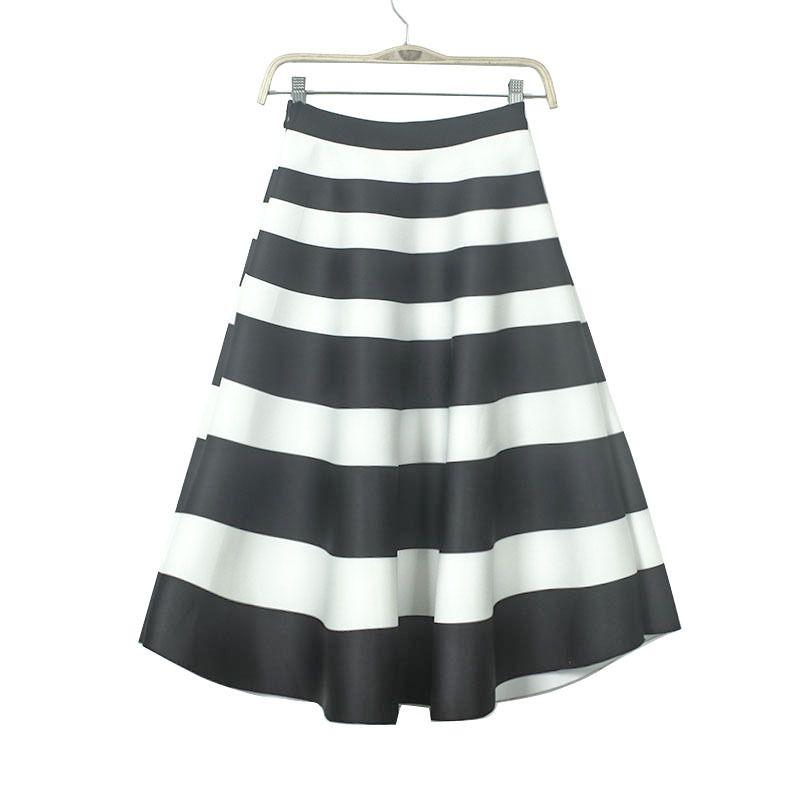 Neue Ankunft Lang Schwarz Und Weiß Gestreiften Tutu Rock Frauen Elastische Hohe Taille A Linie Lange Rock Mode