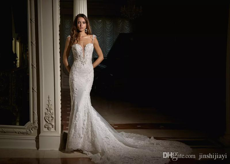 2018 Milady Sexy Simple Lace Mermaid Wedding Dresses Strap