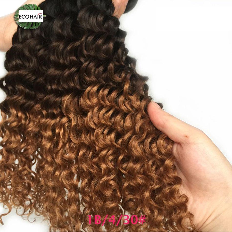 Ombre Deep Wave Bundles Mink Indian Human Hair 1b427 1b