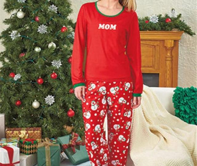 New Year Family Christmas Pajamas Women Man Kids Family Match Clothes Sleepwear Costume Red Cotton Long