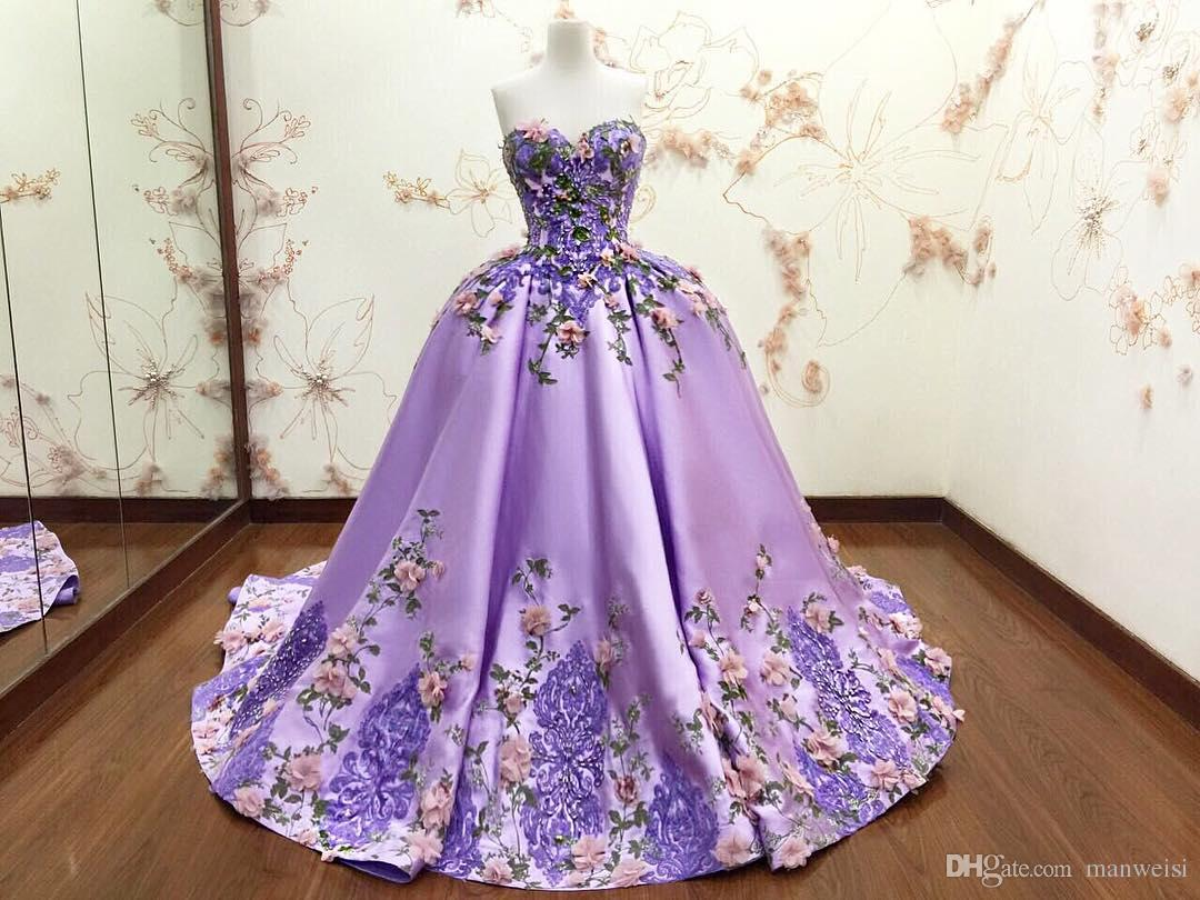 Luxury Purple Ball Gown Evening Dresses 3D Floral