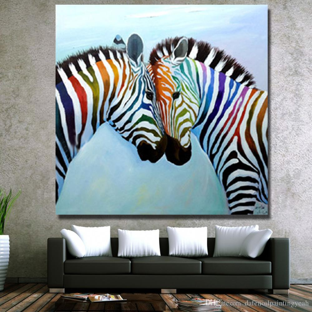 2018 Hot Sale Zebra Painting On Canvas Home Decor Living Room Wall     Hot Sale Zebra Painting on Canvas Home Decor Living Room Wall Pictures Hand  made Oil Painting