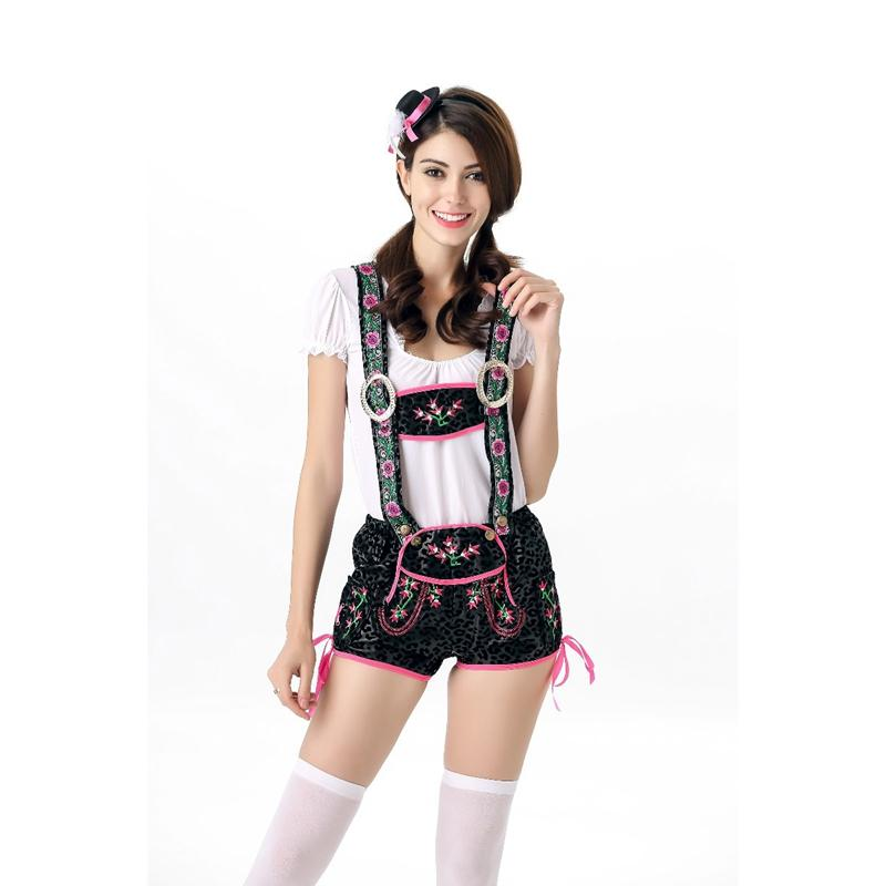 New Design Sexy Beer Girl Costume Germany Oktoberfest Outfits Women         New Design Sexy Beer Girl Costume Germany Oktoberfest Outfits Women  White Top Green Overalls Fashion Beer