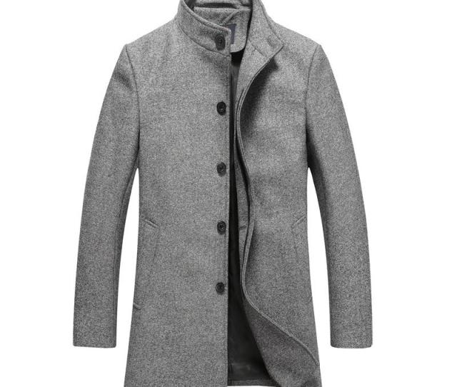 Mens Wool Jackets Spring Autumn Men Woolen Coats Middle Long Jackets Coats Mens Warm Wool Overcoat