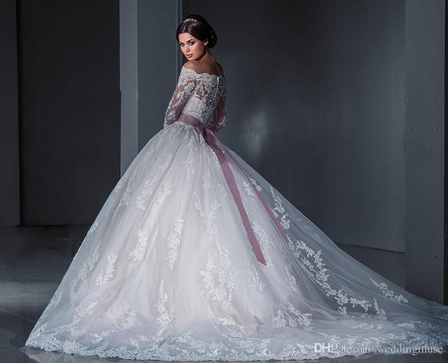 Discount Luxurious Ball Gown Princess Lace Wedding Dresses