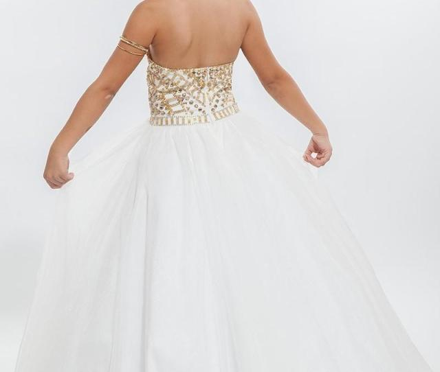 White Ball Gown Girls Pageant Dresses High Neck Halter Gold Crystal Tulle Backless Toddler Little Girls