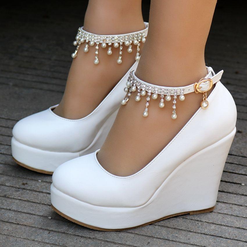 Crystal Queen High Heel Ankle Strap Platform Wedge Shoes