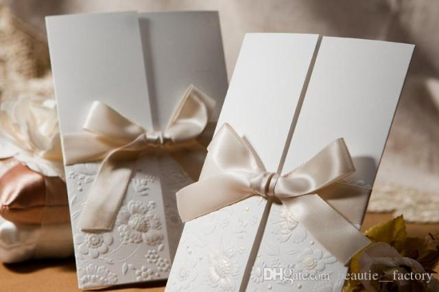 Invitations Cards with Ribbon Bow Envelopes Seals Flower Pattern Wedding Party Invitation Unique Design B1113