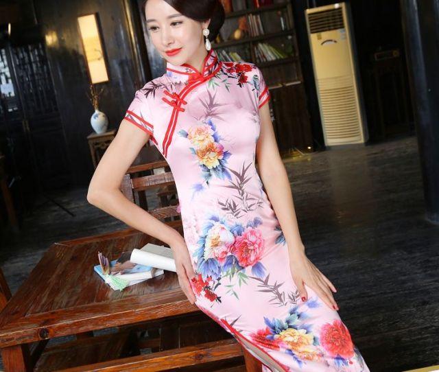 Hot Chinese Traditional Printed Long Cheongsam High Grade Oriental Sexy Split Silk Qipao Womens Chirpaur