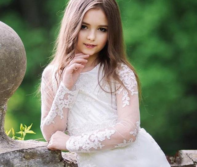 Flower Girls Dresses For Teen Elegant Iullsion Sleeve Lace Formal Wear Ankle Length Cheap Price