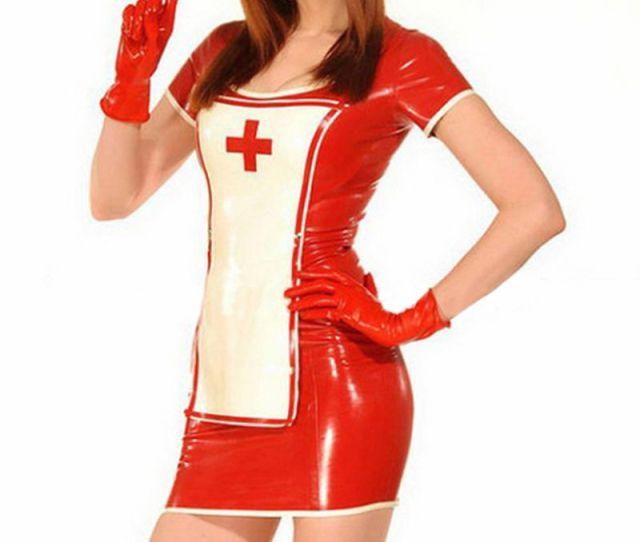 2018 New Sexy Women Latex Dress Pack Hip Nurse Suit Contains Gloves Uniform Temptation Exotic Lingerie
