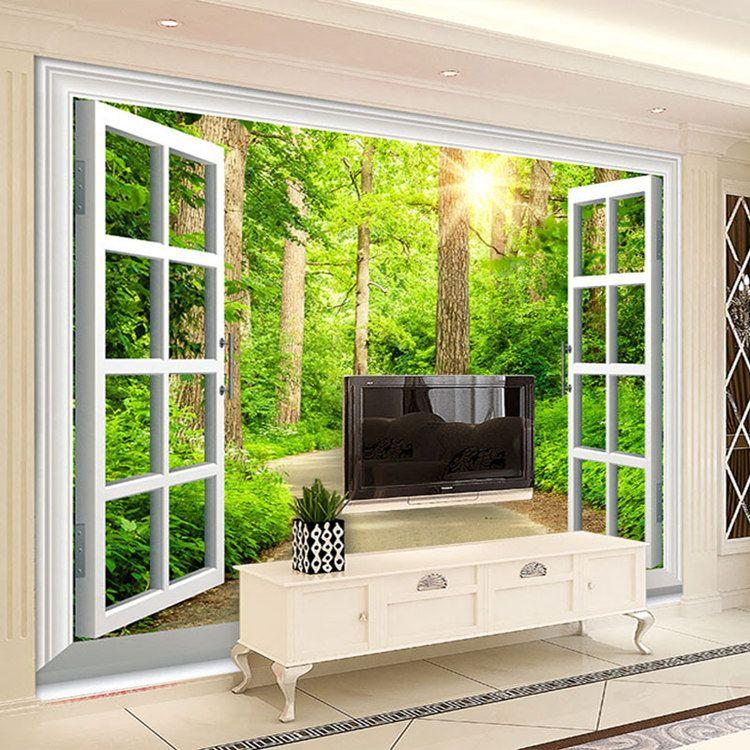 Großhandel Benutzerdefinierte 3D Fototapete Green Sunshine Forest