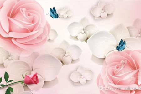 3d Hd Large Mural Pink Rose Photo Wallpaper Scenery For Walls     3D HD Large Mural Pink Rose Photo Wallpaper Scenery For Walls Wedding House  Romantic Wall Paper