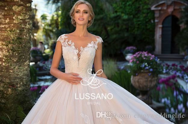 Sheer Neck Capped Sleeves Ball Gown Wedding Dresses 2018