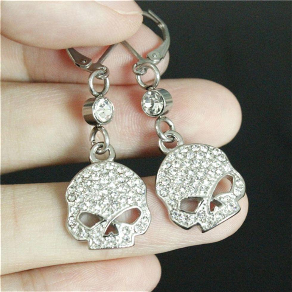 Newest design crystal biker earrings 316l stainless steel fashion jewelry hot selling motorbiker skull earrings