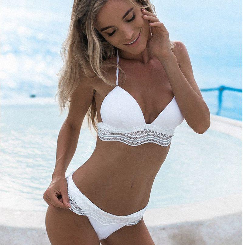 2018 Newest Hot Sexy Brazilian Young Girls High Cut Solid Color Bikini Deep V Halter Push