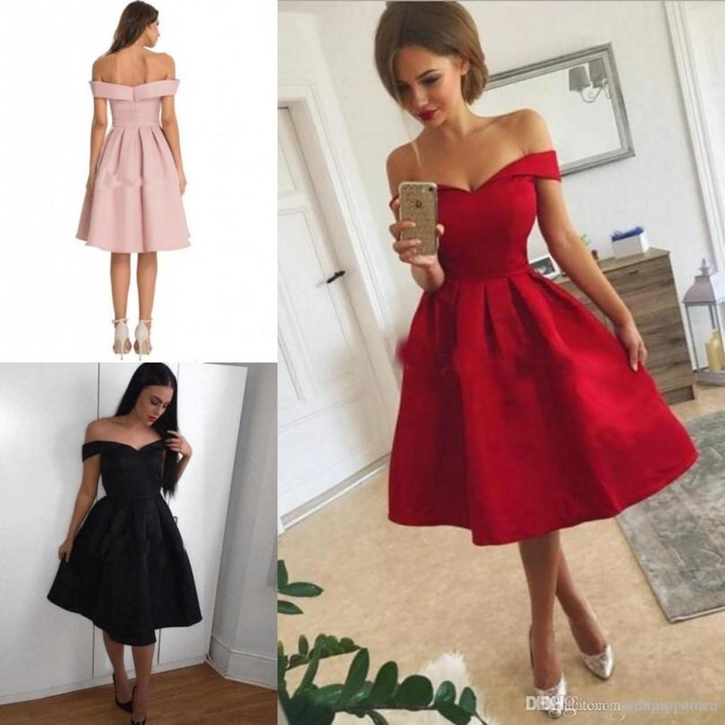 Simple Red Short Homecoming Dresses Off Shoulder Knee Length Satin Ruffles Party Dress Custom Made Short Prom Dresses One Shoulder Homecoming Dresses Online Gowns From Magic_gown, $76.35Com