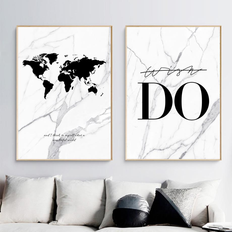 2020 Marble Do World Map Canvas Painting Wall Art Print Nordic Black White Wall Pictures For Living Room Home Decoration From World View 10 59 Dhgate Com