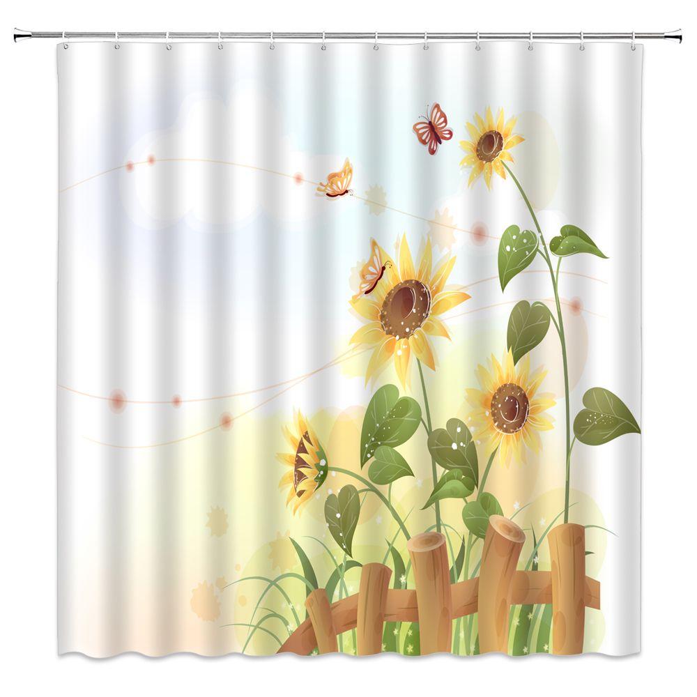 2021 cartoon sunflower shower curtains