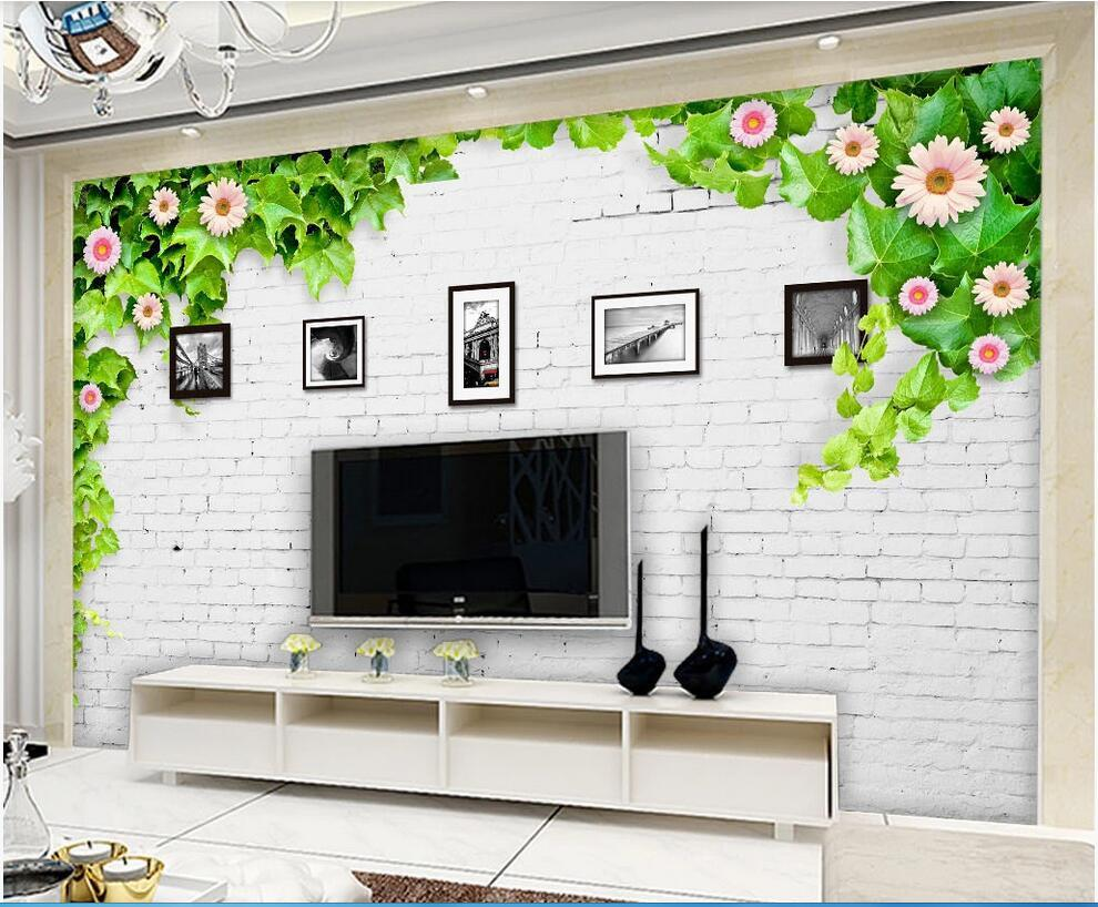Wdbh 3d Wallpaper Custom Photo Modern Minimalist White Brick Wall Flower Vine Frame Tv Background Wall Home Decor Wallpaper For Walls Wallpapers For Hd Wallpapers For Mobile From Wdbh 13 38 Dhgate Com