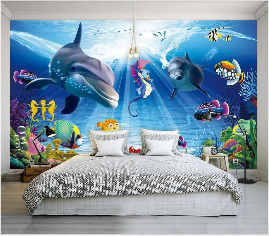 Custom Photo 3d Wallpaper Romantic Background Ocean World Dolphin Sofa Living Room Background Wall Art Picture Wallpaper Mural For Walls 3 D From Wdbh 25 41 Dhgate Com