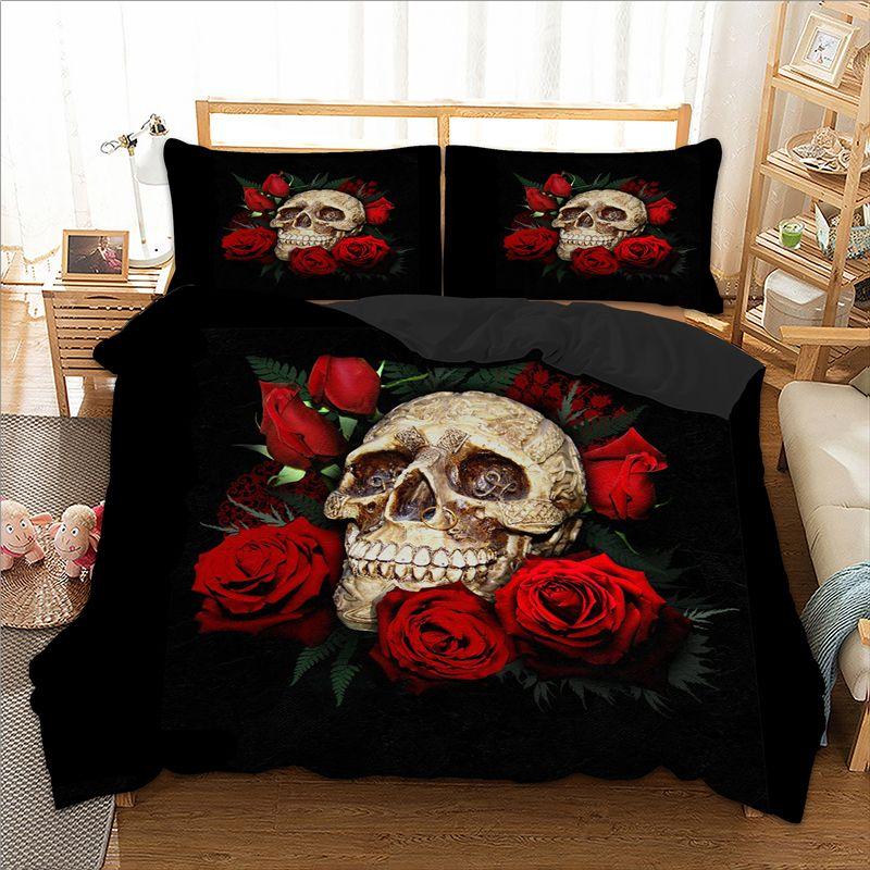 hot sale skull bedding set red black