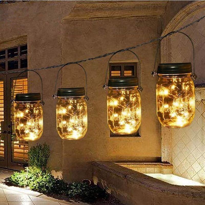 compre tarro de mason faroles solares luces 20 leds estrella estrellada hada luciernagas tarro para patio al aire libre jardin patio tarro de mason