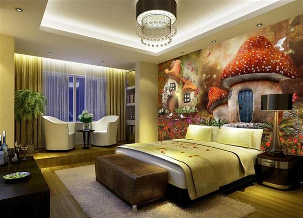 Low Price Wall Paper 3d Wallpaper Fairy Tale Mushroom House Childrens Room Tv Background Wall Decoration Mural Wall Paper Cartoon From Yunlin888 10 42 Dhgate Com