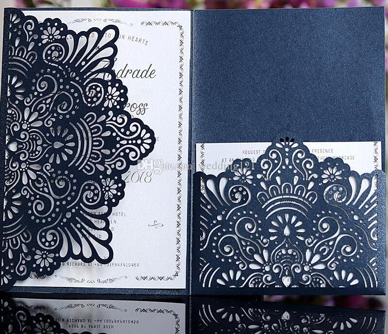 acheter invitation elegante de carte personnalisee poche tri pliant carte d invitation d affaires decoupe au laser de fleur bleu blanc aucune