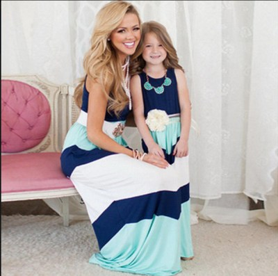 2016 Parent-child Family Dress Blue and white stripes fashion dress Mother and daughter outfit vest dress