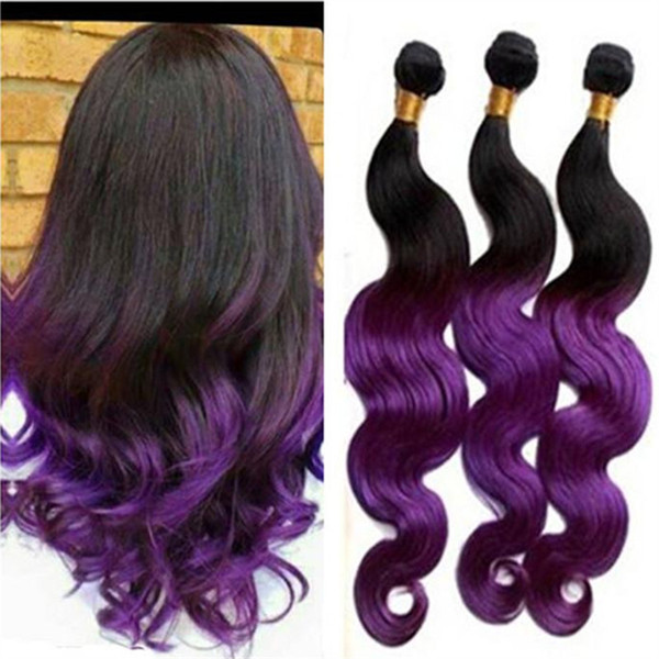 Purple Ombre Hair Extension Brazilian Human Hair Weave braiding cheap brazilian 3 Bundles Ombre humain Hair