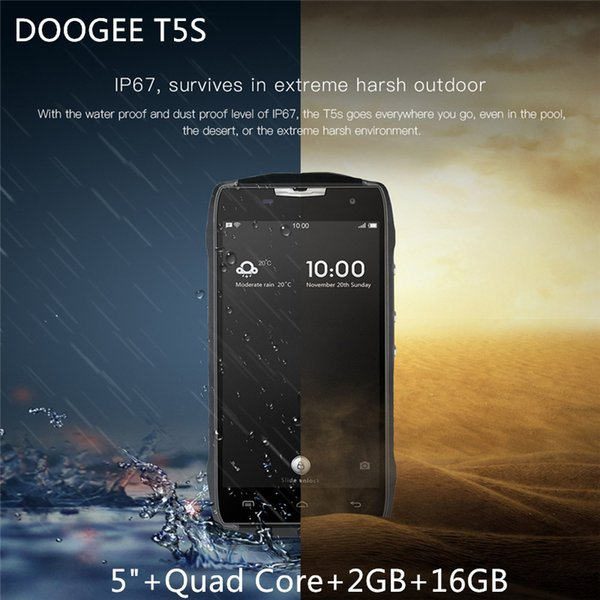 "DOOGEE T5S 4G Lte 4500mAh Smartphone Waterproof Android6.0 MTK6735 Quad Core 5.0"" 2GB RAM 16GB ROM 8MP Mobile Phone"