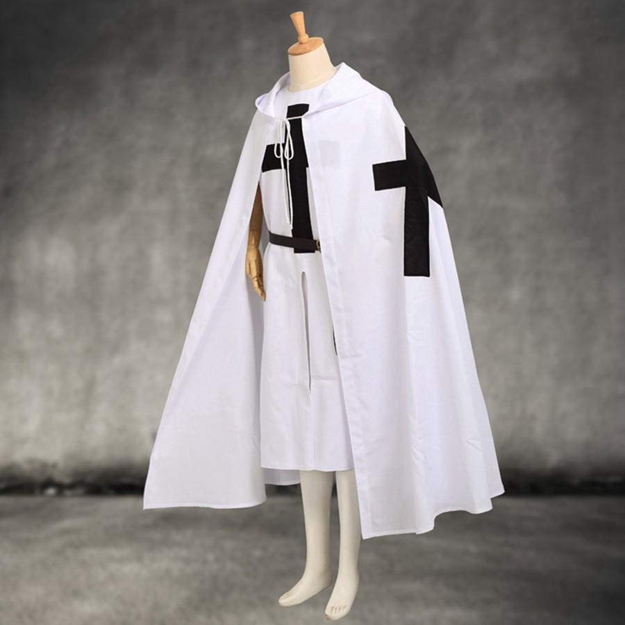 Medieval Templar Knights Cloak Set Men S Cosplay White