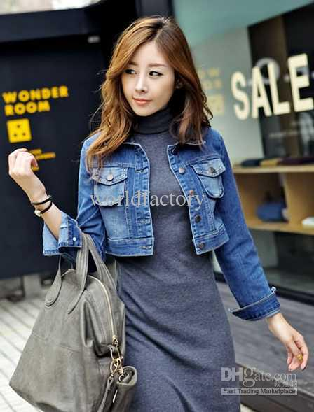 Korean Women Lapel Short Style Denim Jacket Leisure Ladies