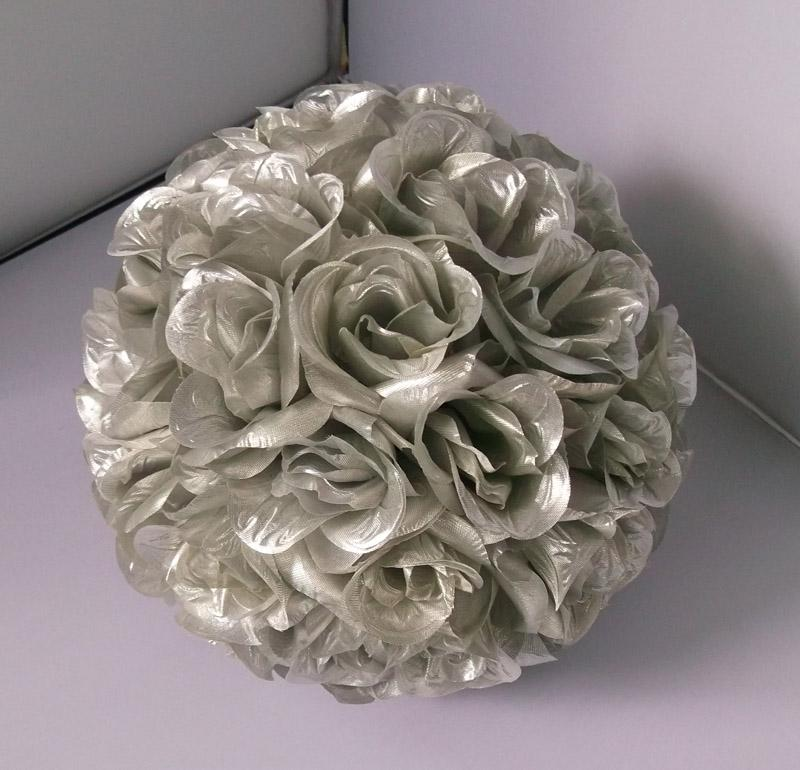2016 Silver Color Silk Kissing Rose Flower Ball Artificial