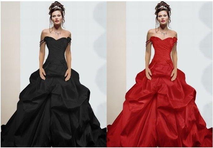 Red Black Wedding Dress Satin Evening Dress A Line