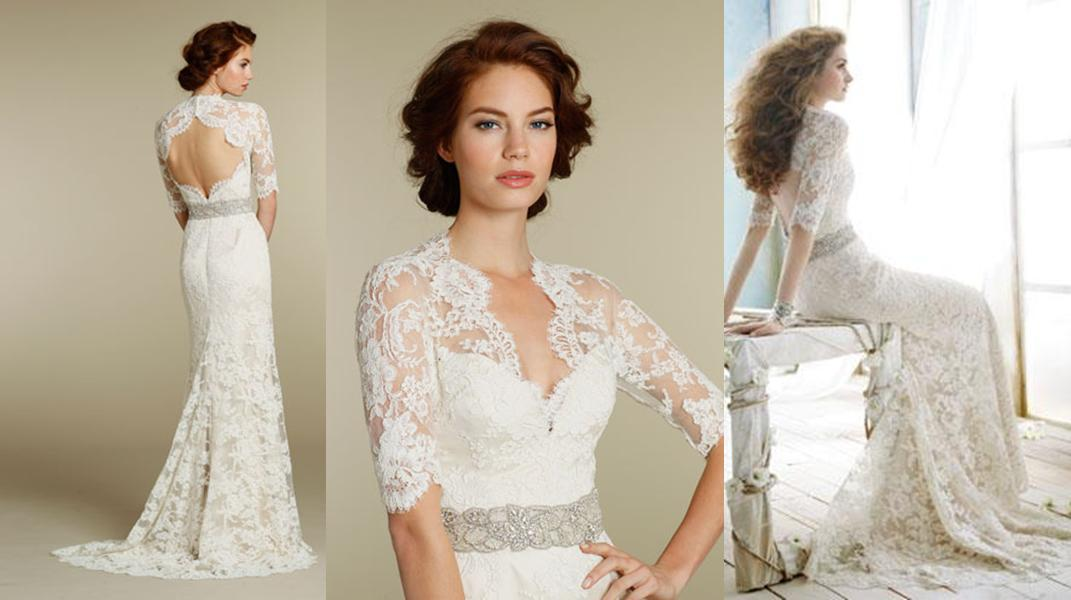 Discount Latest Lace A Line Three Quarter Sleeve