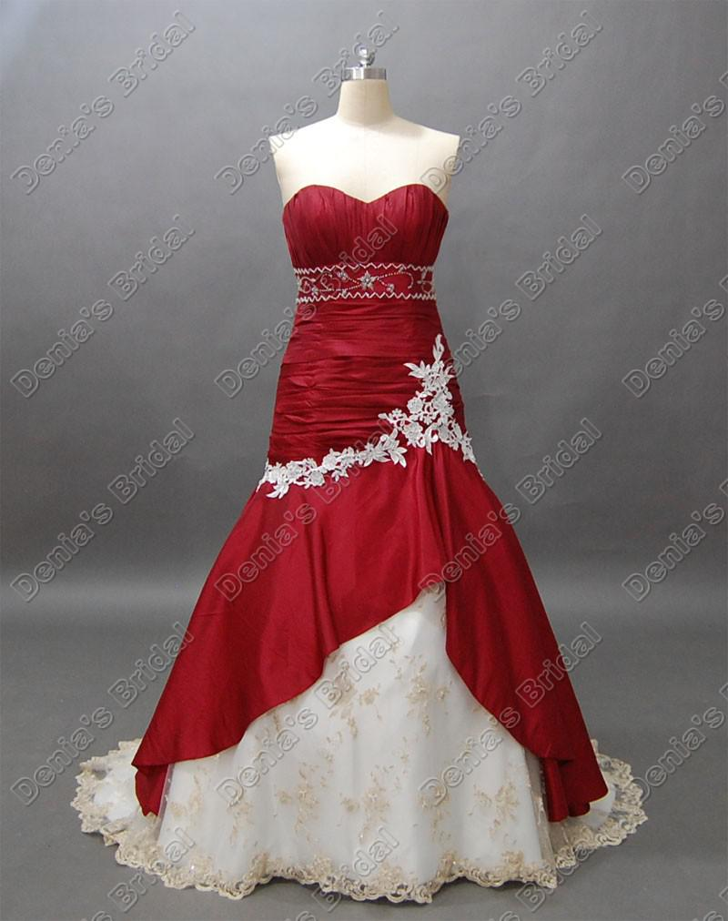 Wine Red And White Bridal Wedding Dress Sweetheart Mermaid