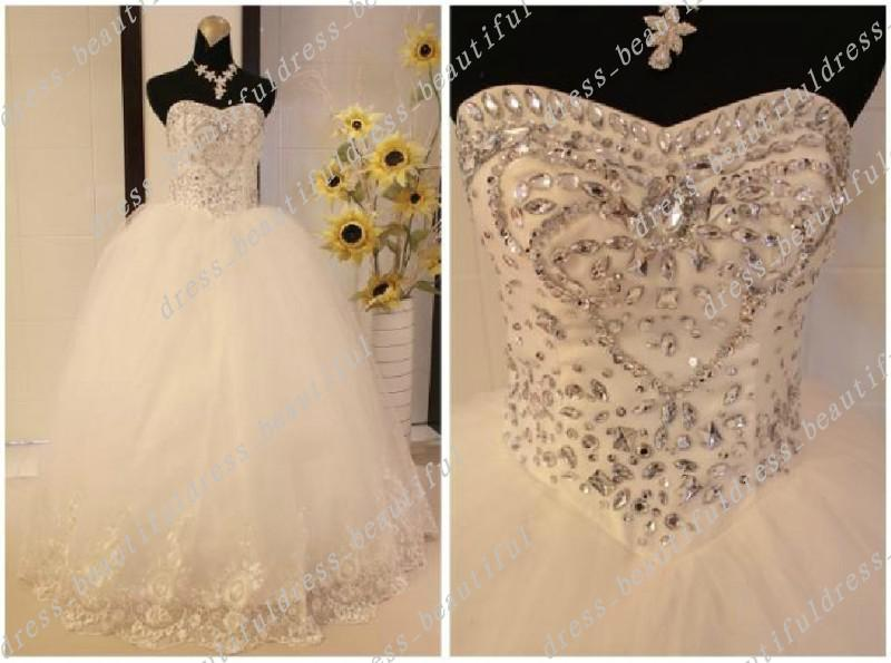 Discount Sexy Diamond Sweetheart Beading Tulle Bodice Lace