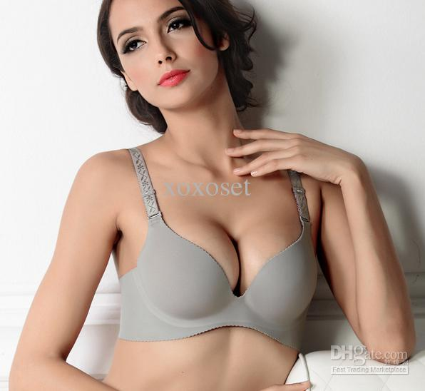 Namehot Big Bra Fashion The Deep V Sexy Glossy Girls A Lingerie Bra Seamless Gather Bra 30 Pcs Lot Ems