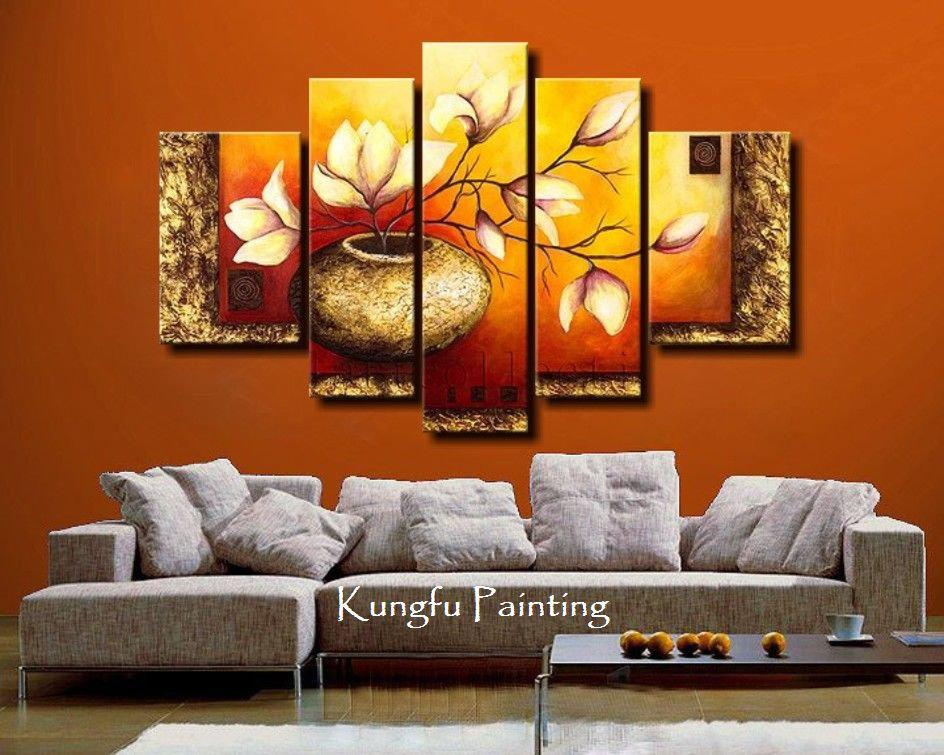 2019 100% Hand Painted Unframed Abstract 5 Panel Canvas