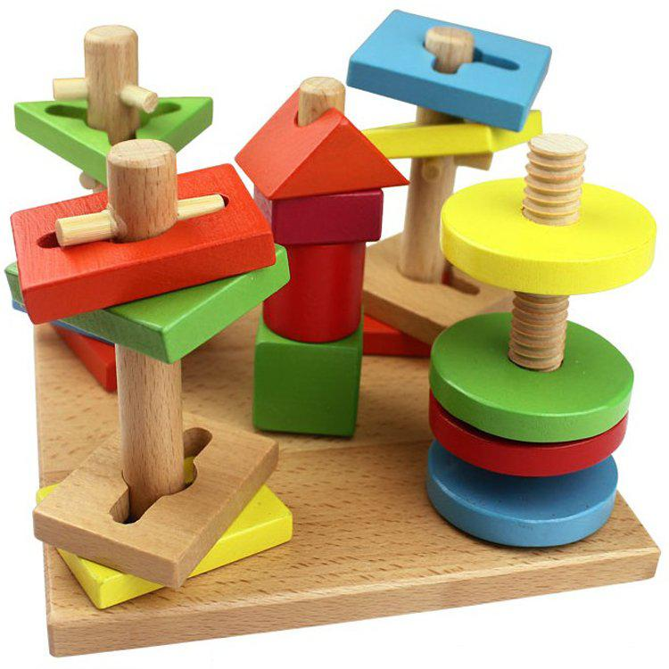 Children Wooden Toys Five Column Suit Building Blocks Different ...