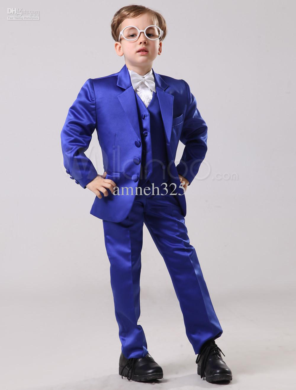 Online Cheap Fashion Royal Blue Boys Ring Bearer Suits