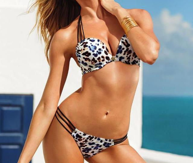 Fashion Womens Girls Hot Sexy Summer Bikini Swimwear Leopard Print Padded Bandeau Topbottom Beachwear Size