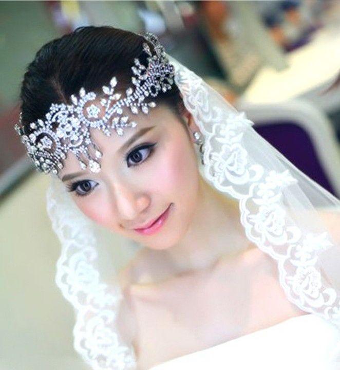 Bridal White Rhinestone Crystal Forehead Band Hair Tiara