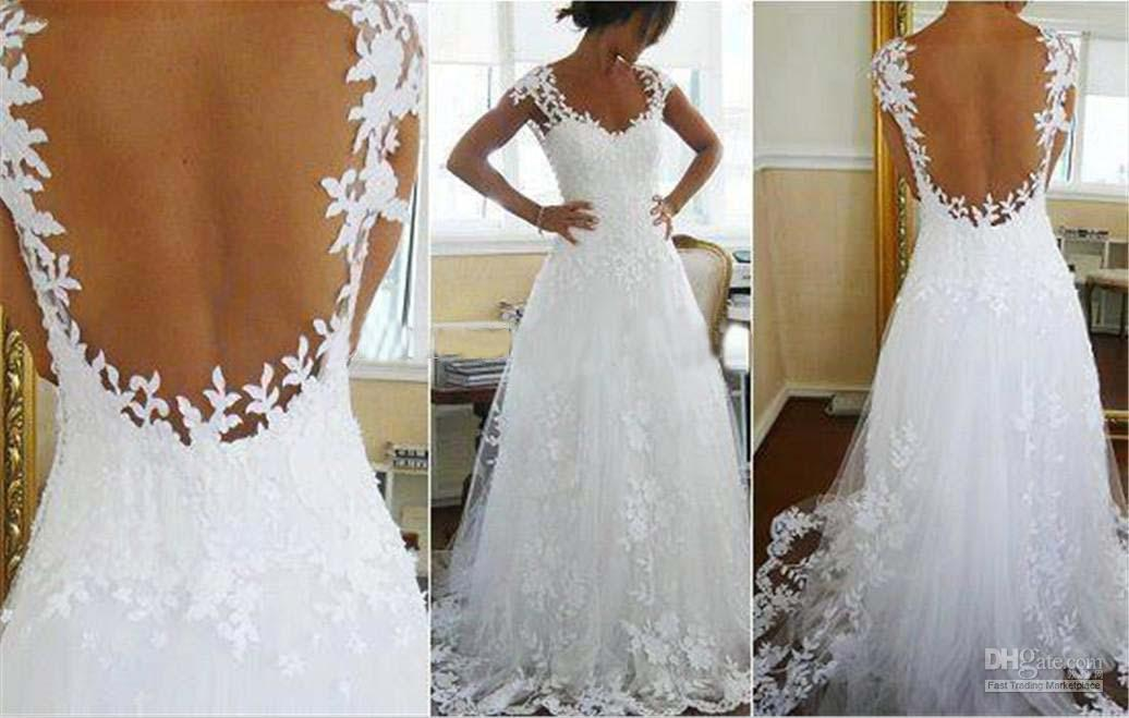 Discount 2014 Sexy Backless Wedding Dresses Nude Back Slim