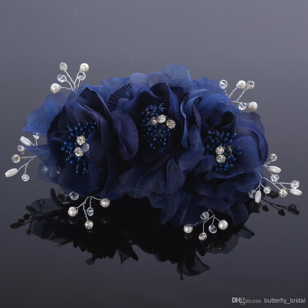 2014 Hote Sale Navy Blue Light Blue Bbridal Hair