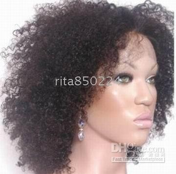Human Hair Wigs 14 Inches Afro Curly Indian Remy Hair Full