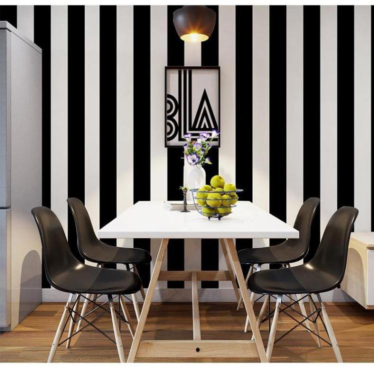 Hot Selling Wallpaper Black White Stripe Style Wallpapers Home Decor Wall Paper Ebay