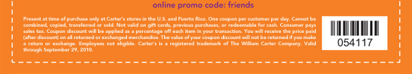 Friends & Family. Take an extra 25% off your entire purchase  with this coupon, in stores & online. Online promo code: friends.  Code: 054117.